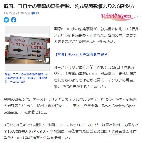 한국 코로나 실제 감염자수는 공식발표수보다 2.6배 많다!