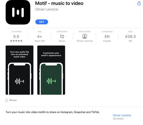 Motif - music to video (iOS, Free)