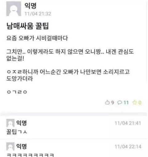 남매싸울 때 꿀팁.txt - 동생피셜