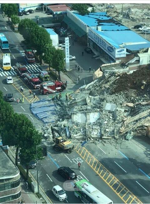 (수정) 광주 건물붕괴현장 현재상황..