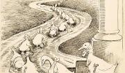 의회에 가는 국회의원들을 '절름발이 오리(레임덕)'로 풍자한 그림 (1915년)