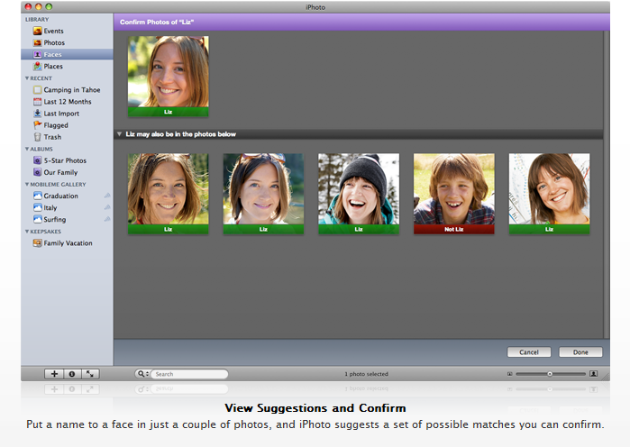 iPhoto 09 with Face Recognition