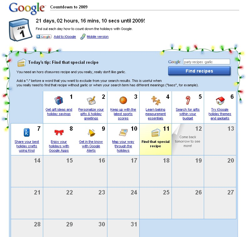 countdown with google