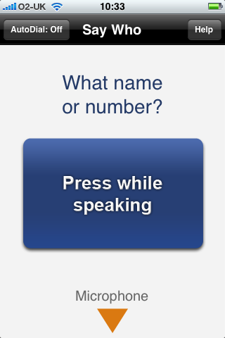Say Who by Dial Directions, Press While Speaking