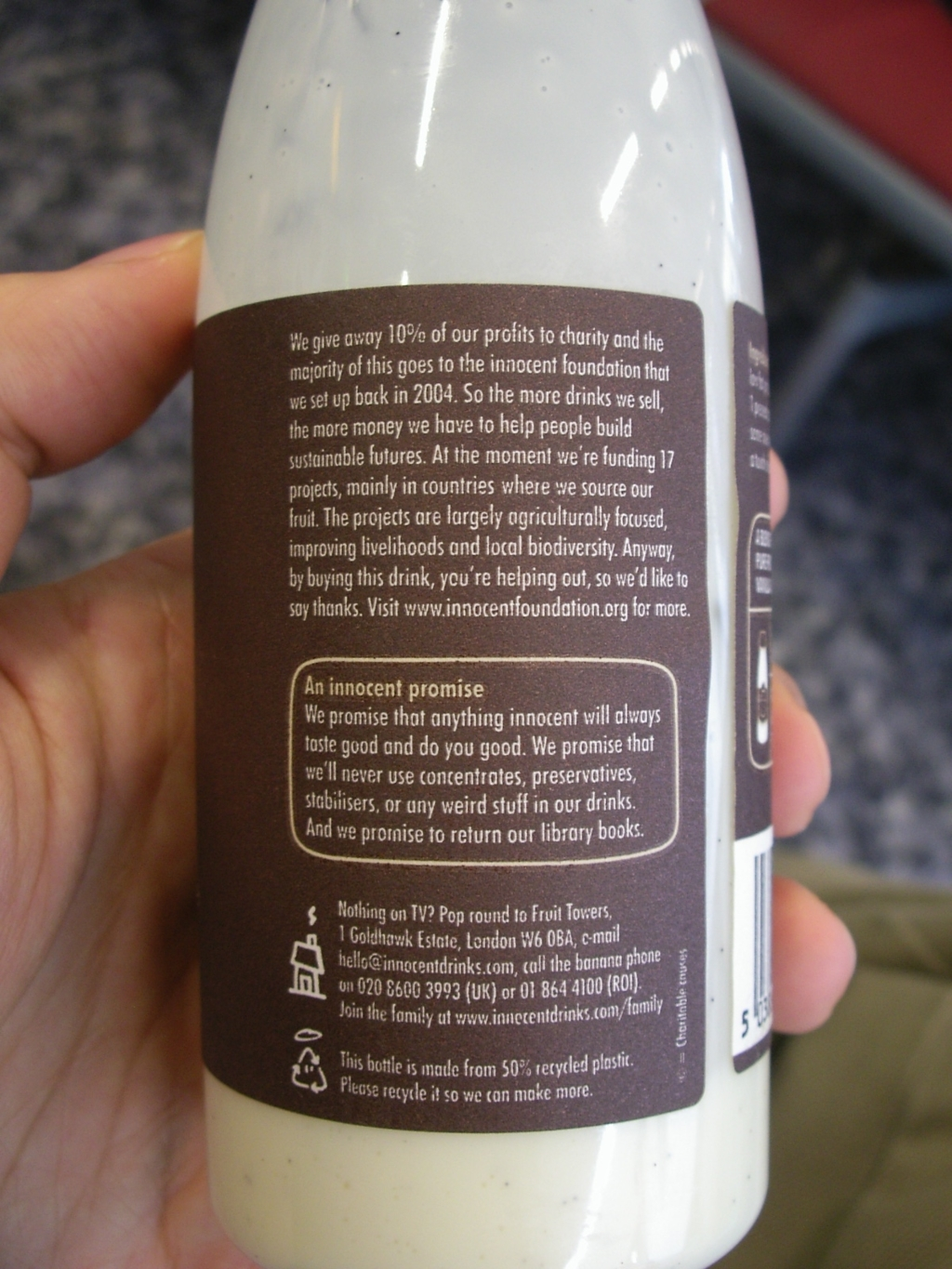 Smoothie Label from Innocent Drinks