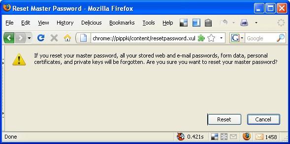 마스터 비밀번호 리셋 master password reset