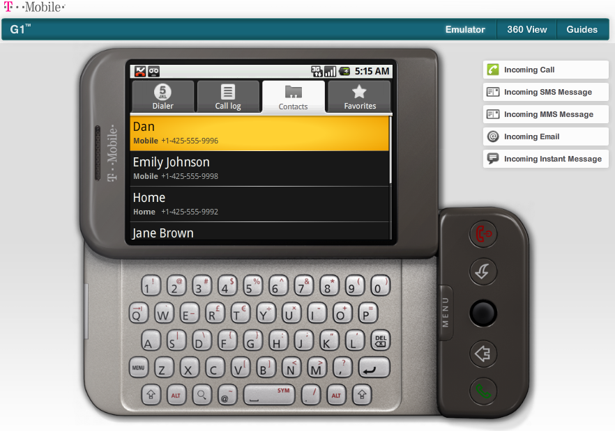 HTC G1 Emulator, powered by Google Android OS