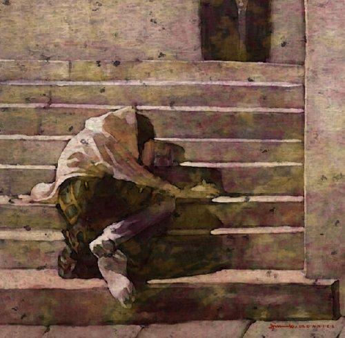 오진국의 그림 '노숙자'