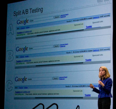 Vice president of search products and user experience at Google, shows three slightly different versions of Google's search results page that the company tested with users. The top, with the least white space, was more popular as measured by how much users searched.