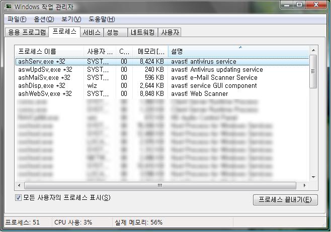 Avast! Antivirus Ver.4.7 프로세스 점유율