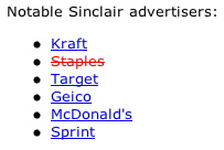 Notable Sinclair advertisers