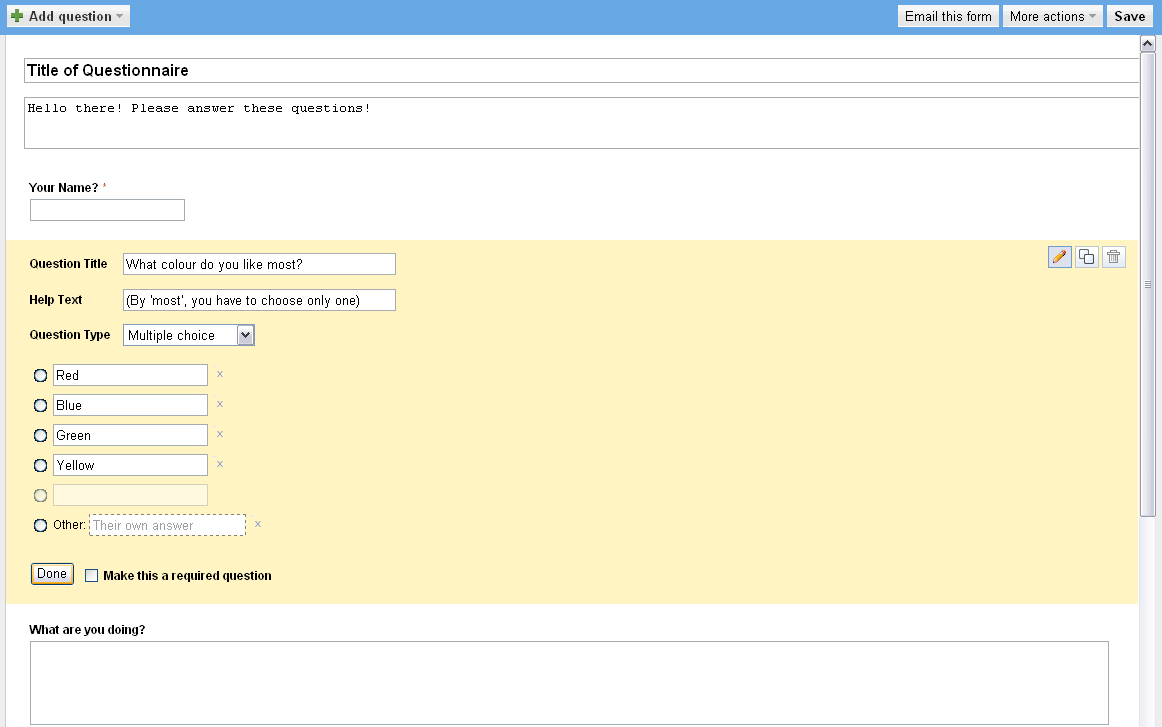 Google Docs Form - Editing Forms
