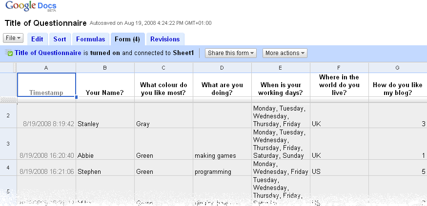 Google Docs Form - Survey Result on Spreadsheet