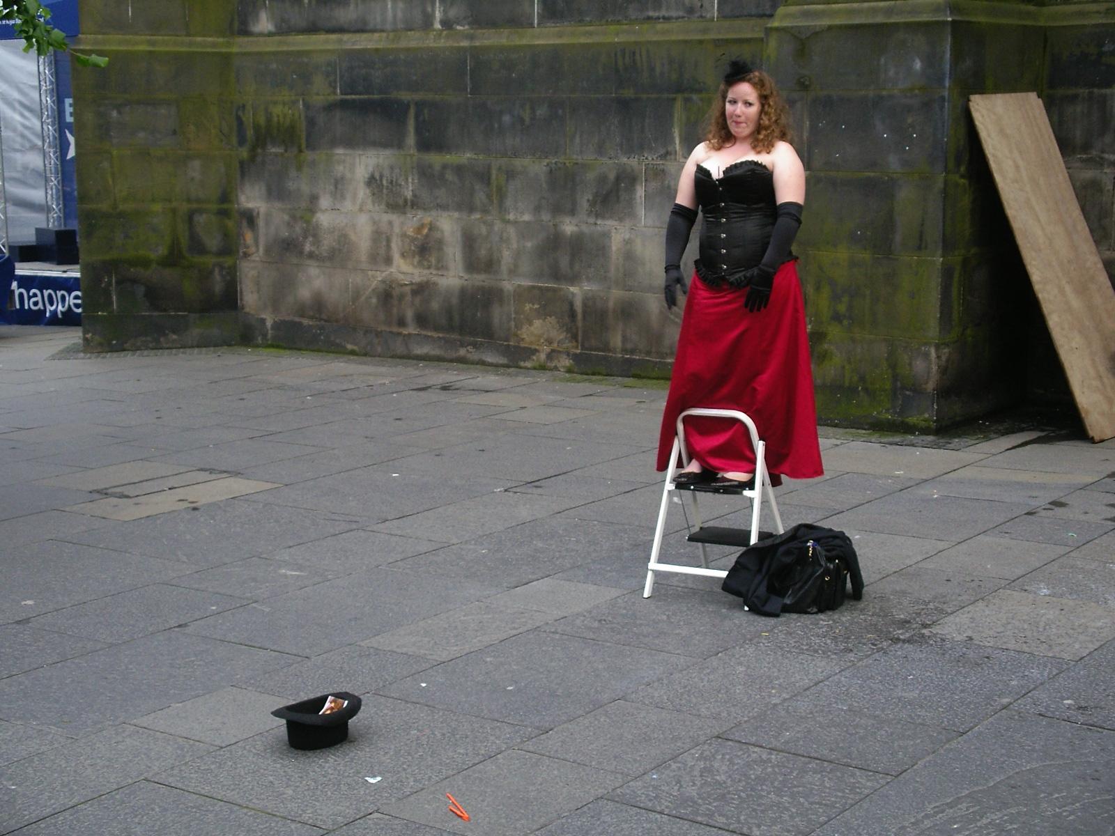 Opera singer on the street, Edinburgh, in Fringe Festival