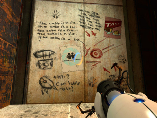 The Cake is a Lie - in screenshot of video game <Portal>